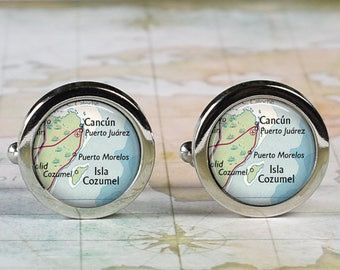 Cancun Mexico cuff links, Cancun map cufflinks wedding gift anniversary gift for groom groomsmen gift for best man Father's Day gift