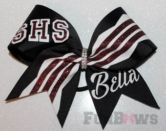 Custom  Initial Cheer School Team Glitter Hairbow  by FunBows !! - your colors !
