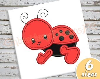 Baby Ladybug Applique Design - 6 sizes - Machine Embroidery Design File