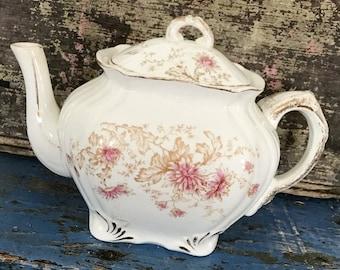 Antique Teapot, Vintage Teapot, Transferware Teapot, Floral Teapot, Transferware Flower, Porcelain Teapot