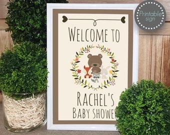 Woodland baby shower welcome sign, woodland baby shower sign, baby shower decor, woodland animal decor, door sign, printable sign