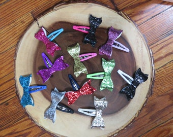 Glitter Bow Snap Clips
