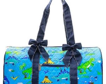 SAMPLE SALE/Quilted Dinosaur Duffle bag/travel bag
