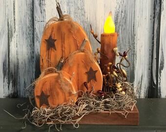 Fall Pumpkin Shelf Sitter w/Candle