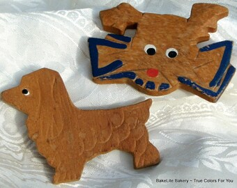 SaLe Estate Jewelry Dogs Carved Vintage Brooches Scottie Pins Lot Set 2 Mid Century Cottage Chic Wooden Scottish Terrier Cottage Chic Unique