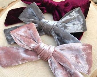 Velvet Hair Bow, baby bows, velvet baby bow, Velvet bows, velvet bow headband, velvet baby headband, baby velvet headband, pink velvet,
