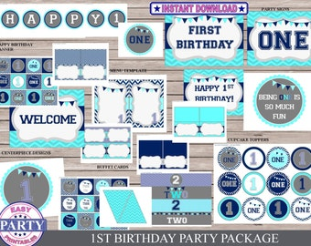 First Birthday Party package, Instant Download, blue and aqua, one year old party, boy party, easily print from home, cupcake