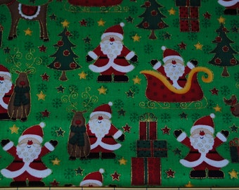 Fat Quarter Christmas Cute Santa with Presents and Reindeer Metallic Outlines