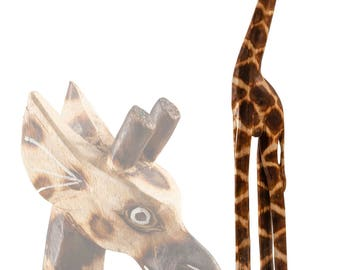 Handgeschnitze-Lovely giraffe-stand figure size selectable 60-150cm (Size: 80cm, Colour: head lowered)