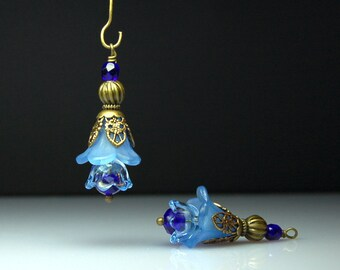 Vintage Style Bead Charms, Drops, Dangles, Blue, Lucite Flowers, Pair, BL318