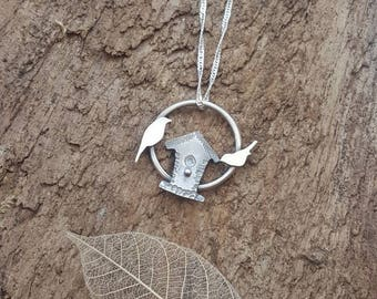 Handmade 925 Sterling silver bird house and birds pendant/necklace