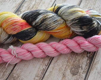 Will Bad Champagne Do? Sock Set, Hand Dyed Sock Set, Coordinated Sock Set, Ready to Ship