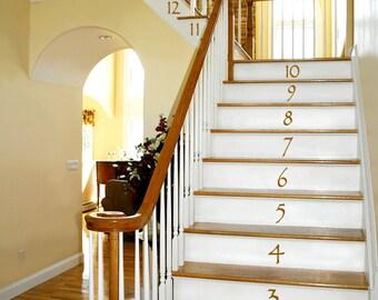 Numbers Vinyl Wall Decals: Vinyl Stair Decals, Stair Stickers, Vinyl Number Decals, Number Decor (0179c38v)