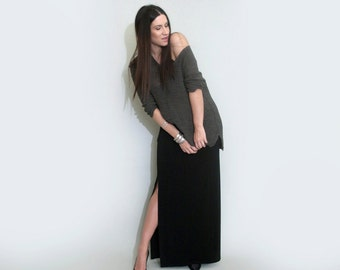 Maxi Skirt • Side Slit Leg • Floor Length Skirts • Tall & Petite Skirts • Ethically made in our USA loft • L415 Clothing (#415-101)