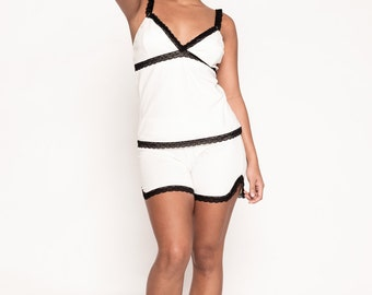 White and Black Pajama Short Set
