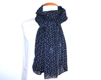 Fluid woman scarf / scarf woman medium & light - polka dot Navy Blue - mother's day gift