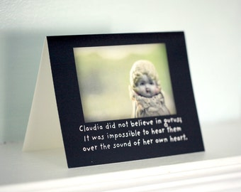 "Note Card Photo Card Greeting Card of A Porcelain Doll ""Claudia Did Not Believe in Gurus"" Typographic Card"