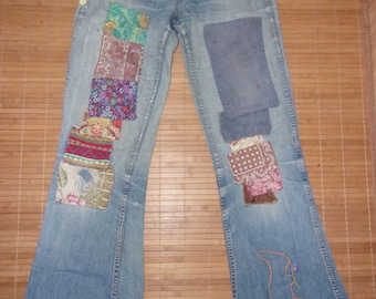Authentic Vintage Landlubber Jeans Distressed Patches Festival Jeans Circa 1972/73