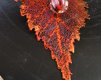 Copper Electroplated Birch Leaf Pendant with Murano Glass Faceted Red and Black Bead, and a Red Dot Faceted Bead by Denise's Creations