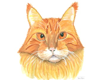 Ginger cat art print, house pet animal face mugshot picture, illustration, watercolor painting sketchbook art, orange tiger pussy kitty gato