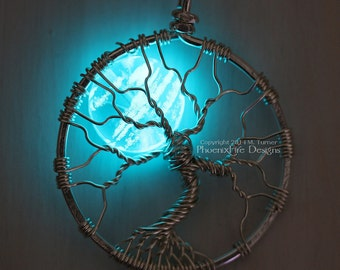 Glow in the Dark Jewelry Full Moon Tree of Life Pendant Glowing Necklace Blue Moon Wire Wrapped Jewelry Wire Wrap Tree Silver Black Gunmetal