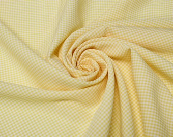 Keira YELLOW Mini Checkered Poly Poplin Fabric by the Yard - 10048