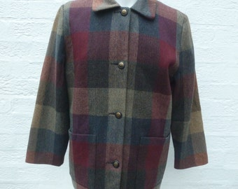 Womens vintage jacket coat tweed made in Ireland clothing ladies red grey jacket winter fall coat spring 1990s plaid fashion wool gift coat