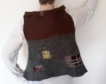 Felted vest Women Reversible Double sided vest Merino Original felt