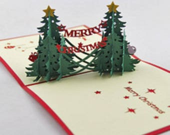 Handmade origami papercraft art 3D popup pop up christmas pine tree twin star farmhouse country Xmas Christmas card friends family classical