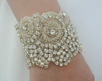 Wedding Rhinestone Bracelet with Swarovski Pearls in Ivory or White for Brides or Bridesmaids - Ships in 1 Week