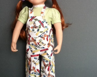 Coolest overalls in colourful crayon print with coordinating lace-trimmed blouse.