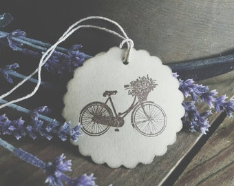 Spring Collection Gift Tags, rustic old bike and flowers, set of 12