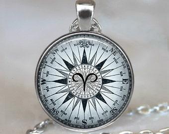Compass Zodiac Aries pendant, zodiac necklace Aries jewelry Aries necklace, astrology jewelry Zodiac jewelry Zodiac pendant key chain