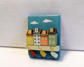Jewelry hanger or Key Holder/Hanger for keys/Jewelry Display/Miniature house/Home Decor/Wall Key Holder/3D Wood Wall Art
