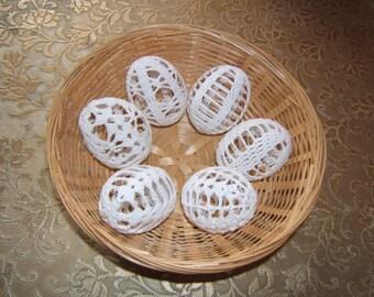 Set van 6 haak eieren, Paas decoratie, decoratie lente