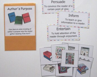 Teacher Made Literacy Center Resource Game Comprehension Author's Purpose