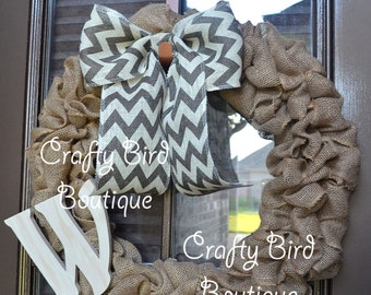 Burlap Chevron Bow Initial Wreath