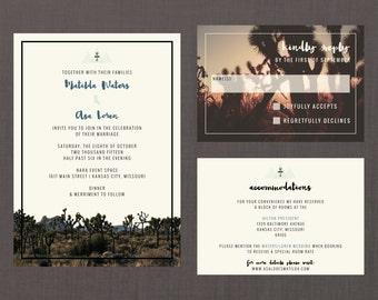 Modern desert wedding invitation set arizona wedding desert for Joshua tree wedding invitations