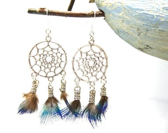 Pendientes de catcher de sueño de pluma de pavo real cuelgan en plata 925