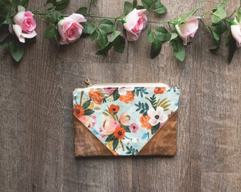 Rifle Paper Bag, Floral Bag, Waxed Canvas Pouch, Rifle Paper Co Purse, Waxed Canvas Purse, Waxed Canvas Bag, Zippered Pouch, Floral Pouch