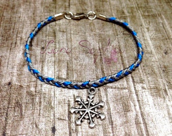 Braided bracelet Blue/grey with snowflake in silver