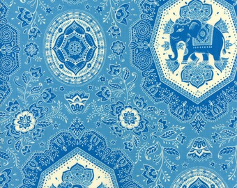 Lily Ashbury Fabric, Elephants, Trade Winds by Lily Ashbury for Moda Fabrics, 11453-12 Tonal Macaw Blue