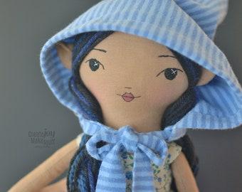 """SELA ~ 14"""" tissu poupée - tissu de poupée - héritage - chiffon à la main - elfe"""