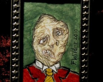 Miniature gothic horror painting in frame Prince of Gloom by Fred Wilder
