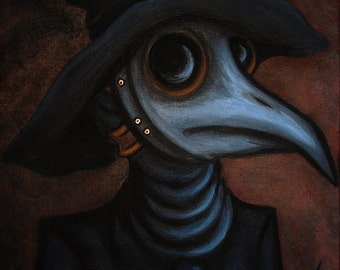 8x10 Print Gothic Fantasy Medieval Plague Doctor Beak Mask Lowbrow Face Horror Macabre Halloween Art Painting Reproduction Natalie VonRaven
