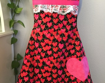 Flirty Valentine Apron/hearts/lace/gold/pink/red/romance