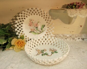 2 Vintage White or Milk Glass Lattice Edge Pieces One Painted Fruit Bowl One Plate Possible Challinor & Taylor  B986