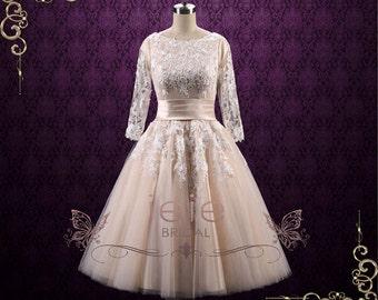 SALE Retro Modest Tea Length Lace Wedding Dress with Sleeves   Marlene