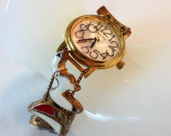 Vintage Enamel Nautical Charm Slide Quartz Women Ladies Wrist Watch Sailboat Gold Plated Chunky Retro Statement SLIDE TIME