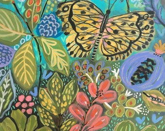 Flower Painting Jungle Butterfly Flowers Original Painting on 18 x 24 Paper by Karen Fields